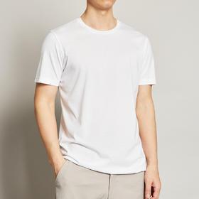 墨麦客男装夏季桑蚕丝冰丝T恤男短袖圆领纯色宽松打底衫半袖7358