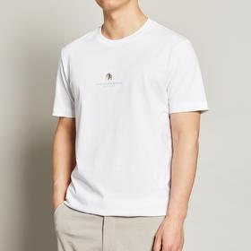 墨麦客男装夏季新款圆领动物刺绣短袖t恤男士白色纯棉体恤衫7367