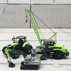 中联重科ZOOMLION模型极光绿压路机拖拉机履带吊塔吊泵车搅拌车叉车合金车模