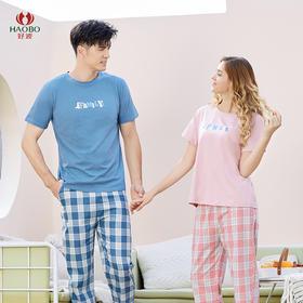 好波春夏新款格格纹短袖长裤亲子家居服套装HJZ2020/2021/2022/2023