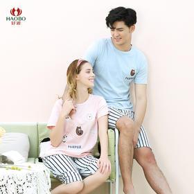 好波夏季新款卡通条纹短袖亲子家居服套装HJZ2024/2025/2026/2027