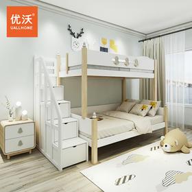 全实木高低床原木上下床进口白蜡木双层床木蜡油涂装2020新款