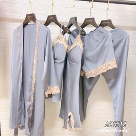 AUCHRIS绸缎睡衣睡袍吊带短裤长裤5件套