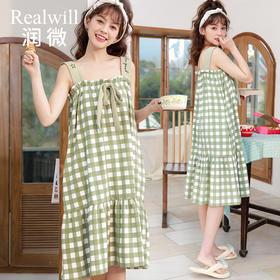 润微新款睡裙女夏小清新吊带印花可外穿舒适连衣裙家居服夏季薄款 抹茶奶绿