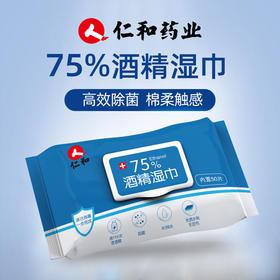 【消毒湿巾 特惠组合】仁和75%酒精湿巾 居家消毒必备 湿巾50抽/包 特惠组合