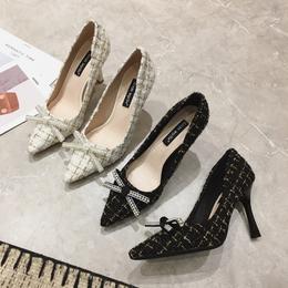 特卖价143 一奇女鞋 2020新款春夏细跟法式高跟鞋小CK蝴蝶结单鞋气质百搭尖头女鞋 MZ12-7#OU yf