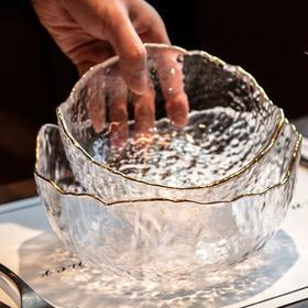 无铅水晶锤纹玻璃沙冰川拉碗 | 日式创意透明冰碗 金边水果盘甜品碗