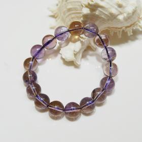 天然紫黄晶圆珠手串