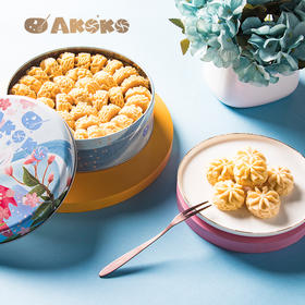 AKOKO经典小花曲奇160g多罐铁盒装 榴莲三拼原味咖啡抹茶味 新三拼草莓焦糖可可