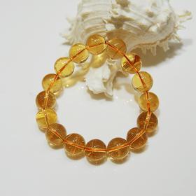 天然黄水晶圆珠手串