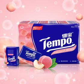 Tempo得宝纸巾甜心桃味手帕纸4层36包 纸巾小包便携装手帕纸餐巾纸