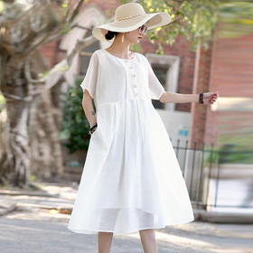 LFSC20237新款纯白色民族短袖裙TZF