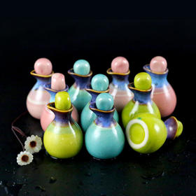 冰裂彩釉壶