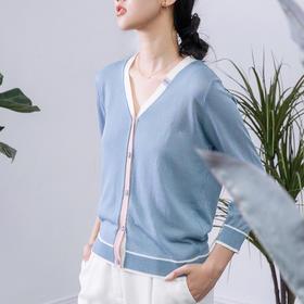 VIN-SU针织拼色开衫 时尚百搭 冰丝凉爽 3D立体编织