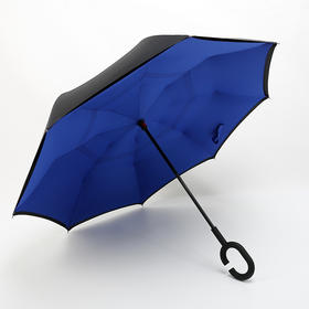 免持式C型可站立双层反向雨伞