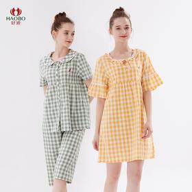 好波新品夏季女士短袖中裤梭织布格纹家居服HJ2012/2013睡裙