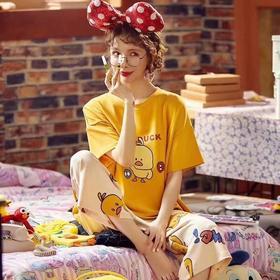 欧戴斯夏款卡通小黄鸭家居服纯棉7分裤 薄款短袖可爱休闲两件套装 睡衣