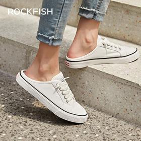 Rockfish不怕湿帆布鞋女春季新款小白鞋一脚蹬懒人不怕湿半拖休闲鞋