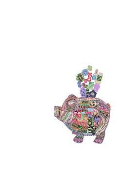 限量版画 《发财猪008》 版数60 黑一烊 48×53cm