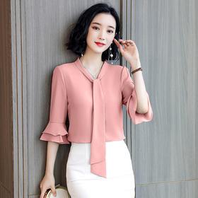 【寒冰紫雨】 洋气缎面polo领衬衫女设计感小众夏季新款气质OL衬衣短袖   CCC7758