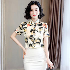 【寒冰紫雨】 洋气缎面衬衫女设计感小众夏季新款气质OL桑蚕丝衬衣短袖 CCC7908