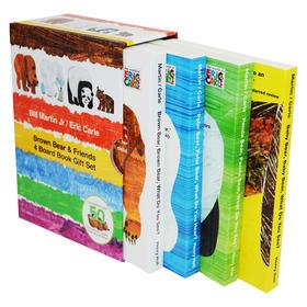 棕色的熊绘本纸板书4册盒装 英文原版 Brown Bear & Friends 4 Board Book 棕色的熊你在看什么 儿童英语早教启蒙可搭好饿的毛毛虫