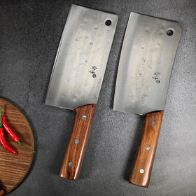 拿铁铁器合手文武双刀 手工锻打  切菜切肉砍鸡剁骨刀