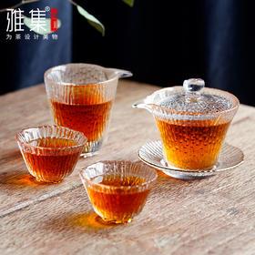 雅集  日式竹节锤纹  玻璃茶具  套装