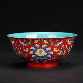 红地珐琅花卉碗