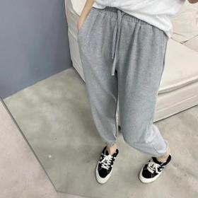 2020年新款 韩国档口老板娘同款 灰色哈伦裤 运动裤双色