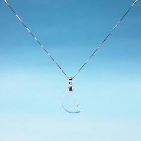 天然白水晶月亮款925银项链