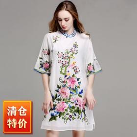 (超值特价 真丝刺绣)OG9327花期如梦改良刺绣连衣裙TZF
