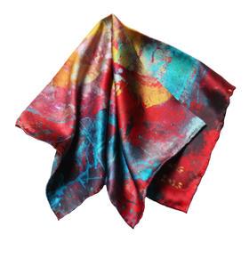 艺术衍生品 手工包边限量真丝方巾 雪凌 50×50cm