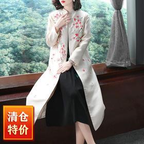 (捡漏款)OG9521中国风桃花刺绣风衣TZF