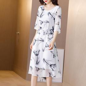 收腰显瘦,五分袖气质双绉桑蚕丝重磅真丝连衣裙KQN-81079