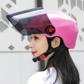 电动车头盔摩托车男女玻璃机车防晒夏季透明镜片安全帽半盔