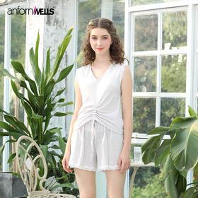 夏季针织棉乱纹提花背心女士套装家居服 14130235