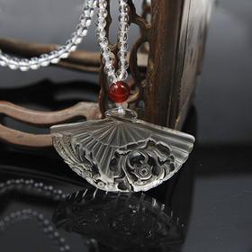 天然白水晶项链套链—凤穿牡丹