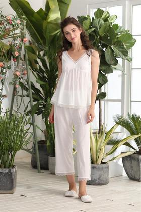 夏季针织棉乱纹提花背心女士套装 家居服 14130234