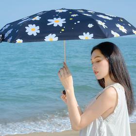 【 晴雨两用,日系插画师设计】banana & kiu 联名时尚口袋五折小黑伞  比手机还轻的五折伞,手掌大小,有效阻隔紫外线99%
