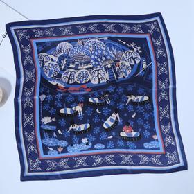 真丝素绉绸缎小方巾--农民画系列