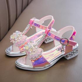 【寒冰紫雨】 同款小孩子穿的女童凉鞋夏季儿童公主鞋中大童高跟鞋小女孩水晶鞋  CCCETCCC3