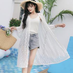 度假海边沙滩防晒衣,中长款蕾丝刺绣披肩薄外套TYL-5819