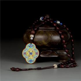 器社 双面手绘陶瓷项链  福禄双至 s925银女士锁骨链民族风首饰品简约生日如意项链