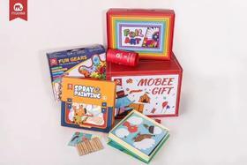 mobee 六一儿童节玩具大礼包 齿轮积木喷喷画升级套装炫彩金箔贴画12色丝滑蜡笔创意拓印画玩具大礼包外箱