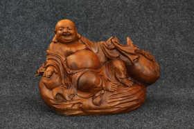 【邮费到付】桐柏山木雕博物馆 纯手工楠木弥勒佛木雕
