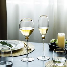 摩登主妇创意欧式金边玻璃杯家用水晶红酒杯香槟杯高脚杯鸡尾酒杯