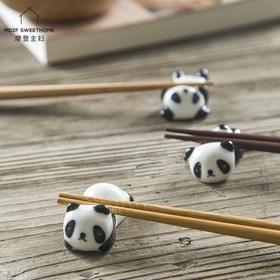 摩登主妇家用日式厨房创意可爱陶瓷餐具筷子枕熊猫筷子托筷托筷架