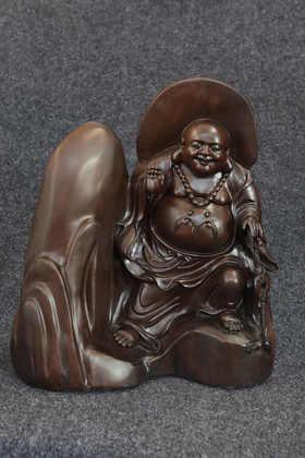【邮费到付】桐柏山木雕博物馆 纯手工乌木弥勒佛木雕