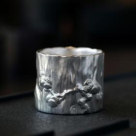 松鹤延年鎏银茶器(单杯)